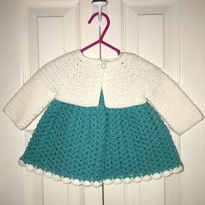 Other - Turquoise & White Crochet Dress & Cardigan